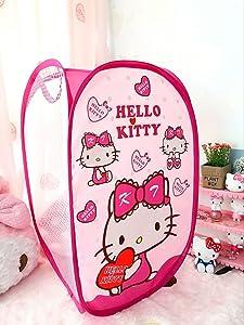 CJB Hello Kitty Foldable Pop Up Hamper Laundry Bag Heart Pink