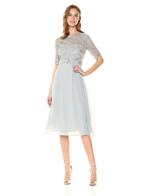 bluee Mist Adrianna Papell Womens Beaded Midi Dress Dress