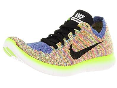 Nike Women's Free Running Motion Flyknit Shoes, White/Black/Blue/Hyper Punch