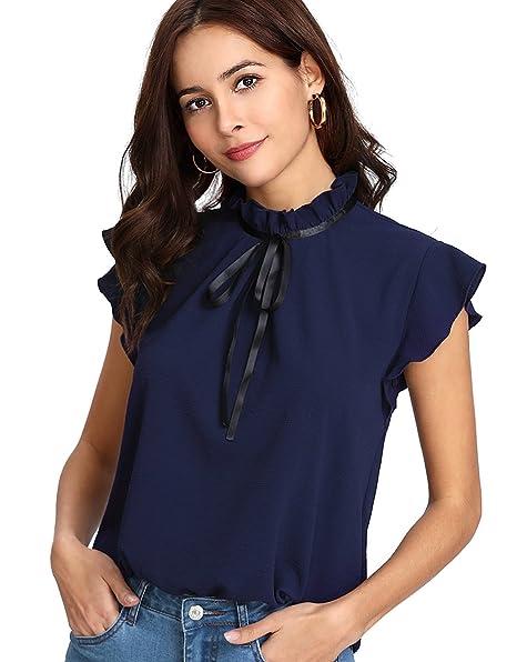 b3547c35ba448b Romwe Women's Casual Cap Sleeve Bow Tie Blouse Top Shirts at Amazon ...