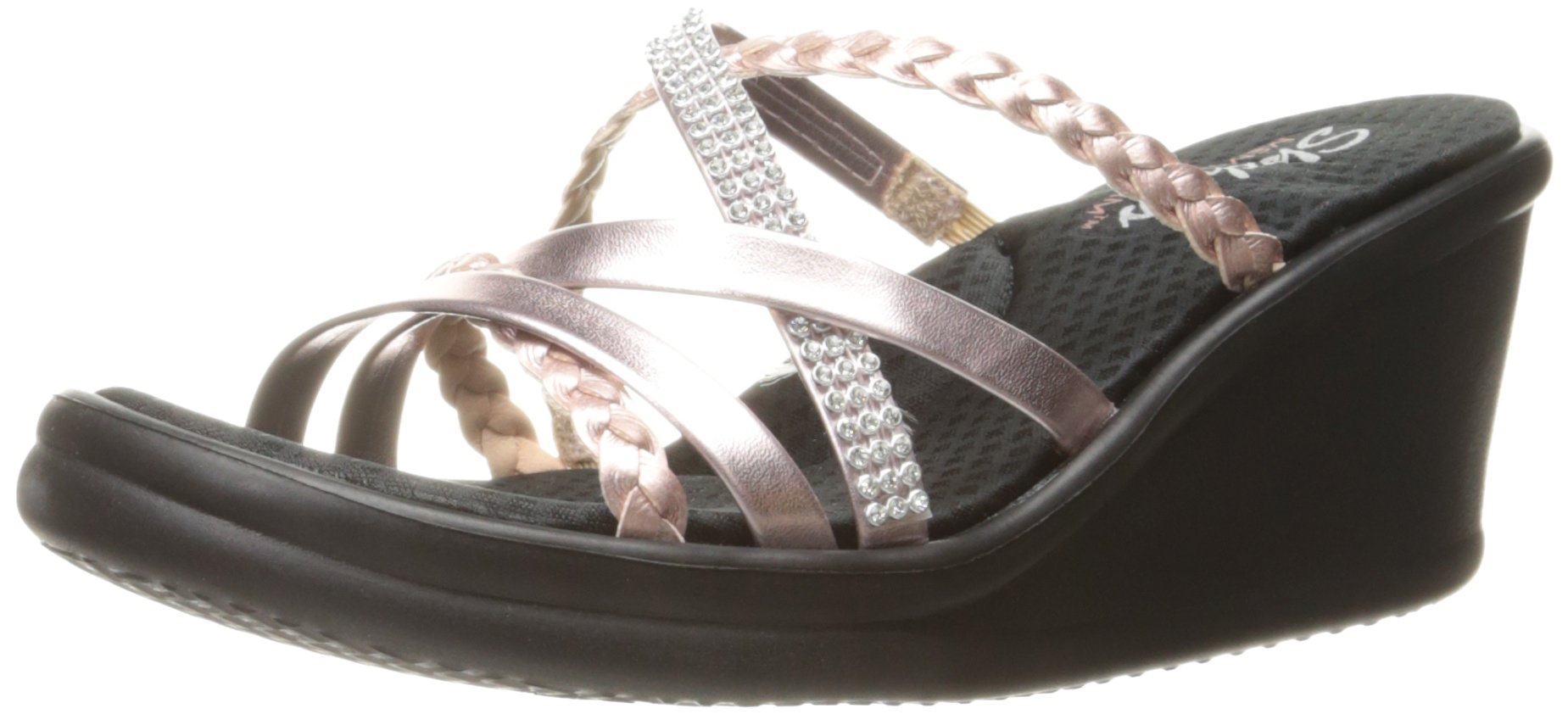 Skechers Cali Women's Rumblers-Social Butterfly Wedge Sandal,Rose Gold,8 M US
