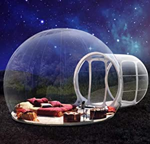 bubble New Stargaze Outdoor Single Tunnel Inflatable Camping Tent with Blower Outdoor Single Tunnel Inflatable Tent Family Camping Backyard Transparent (3 X 5M)