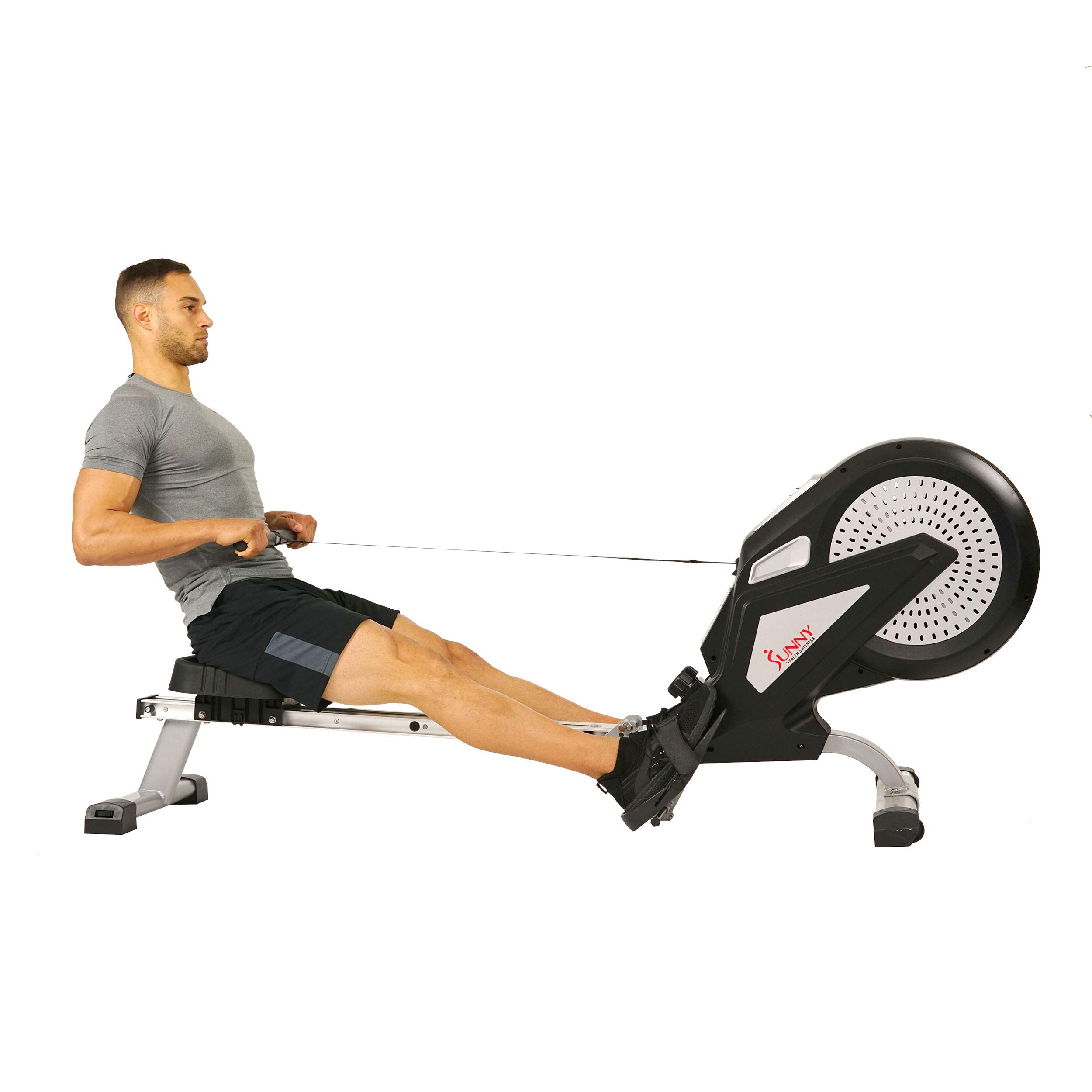 Sunny Health & Fitness Air Rower Rowing Machine w/ LCD Monitor, Dual Belt and Air Resistance SF-RW5623 by Sunny Health & Fitness (Image #3)