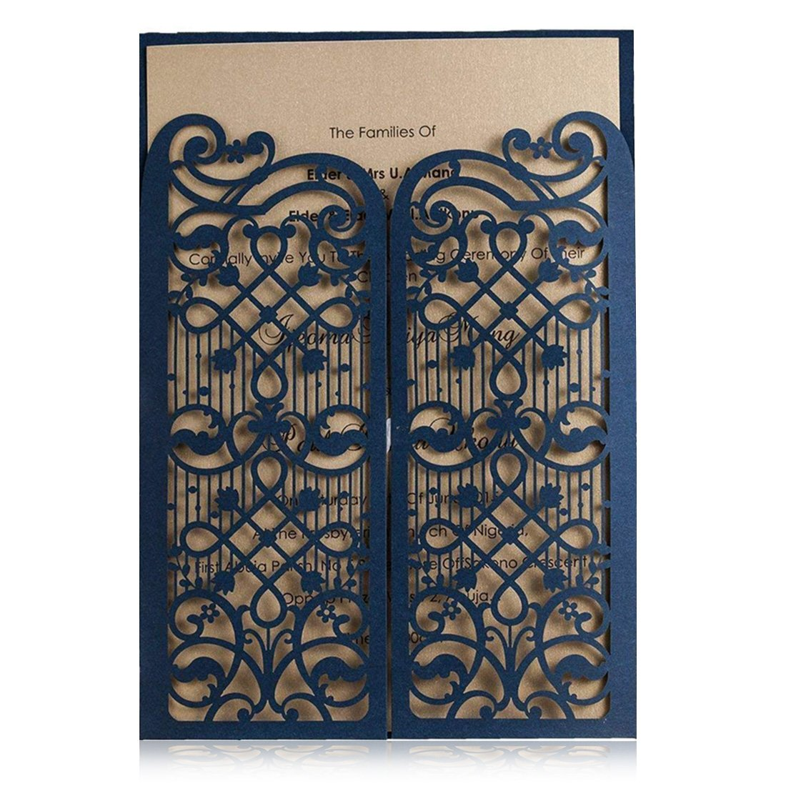 Wishmade Navy Blue Laser Cut Wedding Invitations Cards With Hollow Favors Open Door Design for Birthday Bridal Shower Engagement Printable Cardstock (pack of 50pcs) CW5102