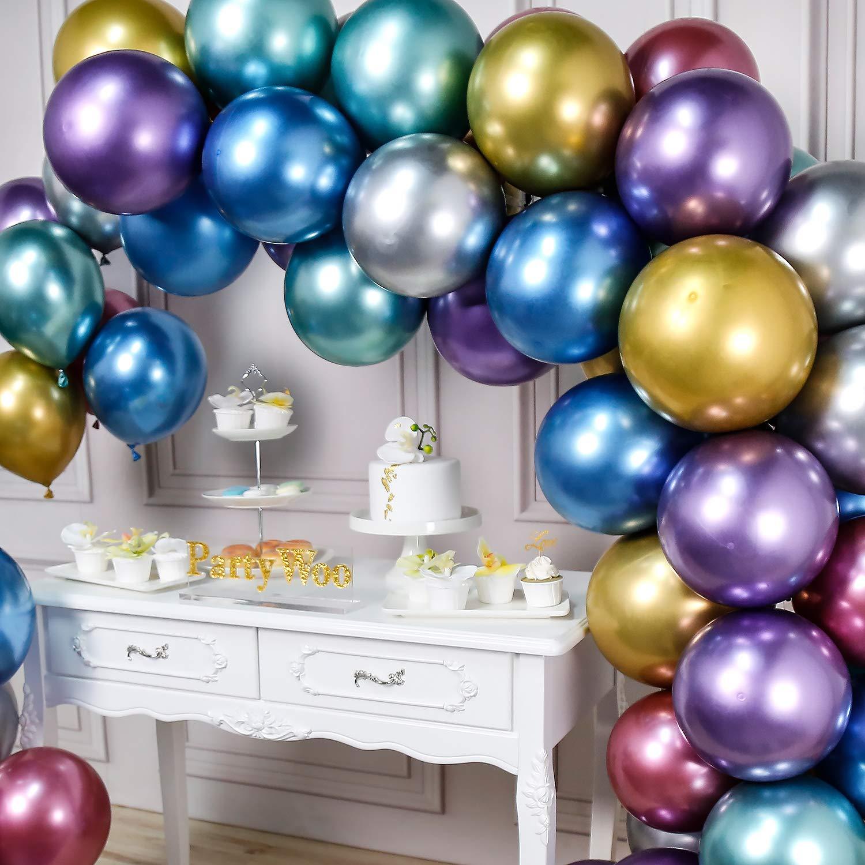 PartyWoo Globos Metalizado 50 Piezas 12 Pulgadas Globos de Oro Globos Rojos Globos Metálicos Azules, Globos Fiesta, Bodas, Cumpleaños, Fiesta de la ...