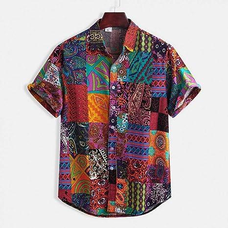 GFRBJK Tallas Grandes Camisas Hombre Algodón de Lino Impreso Manga Corta Casual Camisa con Cuello doblado Camisas Tie Tops de Verano Ropa , Multi ,: Amazon.es: Deportes y aire libre