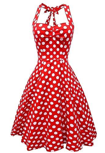 Anni Coco® Women's Halter Polka Dots 1950s Vintage Swing Tea Dresses Multi Colored