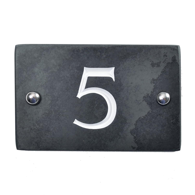 14 x 10 x 1cm /ENVOI le m/ême Jour par 1st Class Post Ardoise num/éro de maison/ Black Charcoal Grey /de la plus haute qualit/é sur /