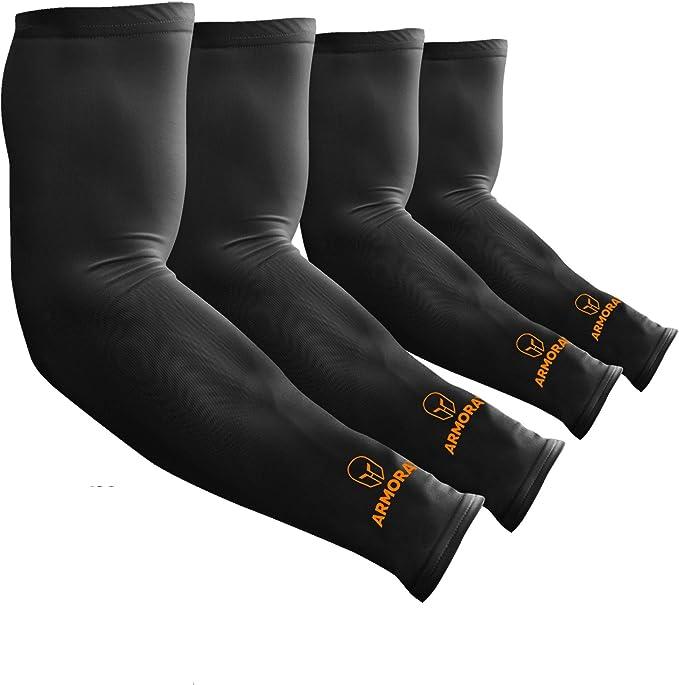 set of black compression sleeves