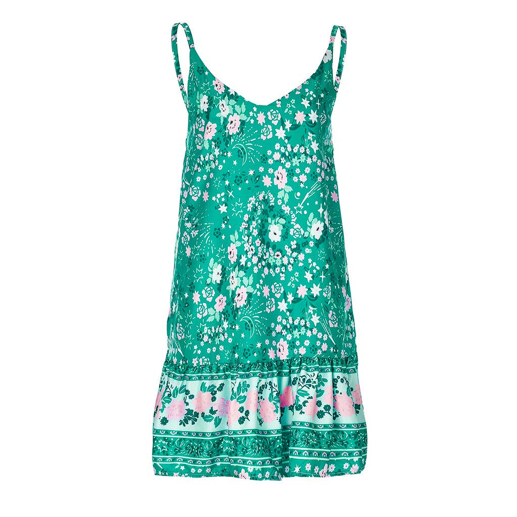 Xiaojmake Women's Sleeveless Floral Print Empire Waist Backless Flowy Boho Mini Tank Dress Green