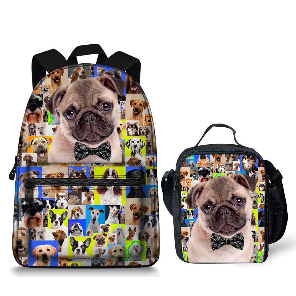 Cute Animals Pug Dog School Bag Lunch Bag for Teenagers Boys Girls