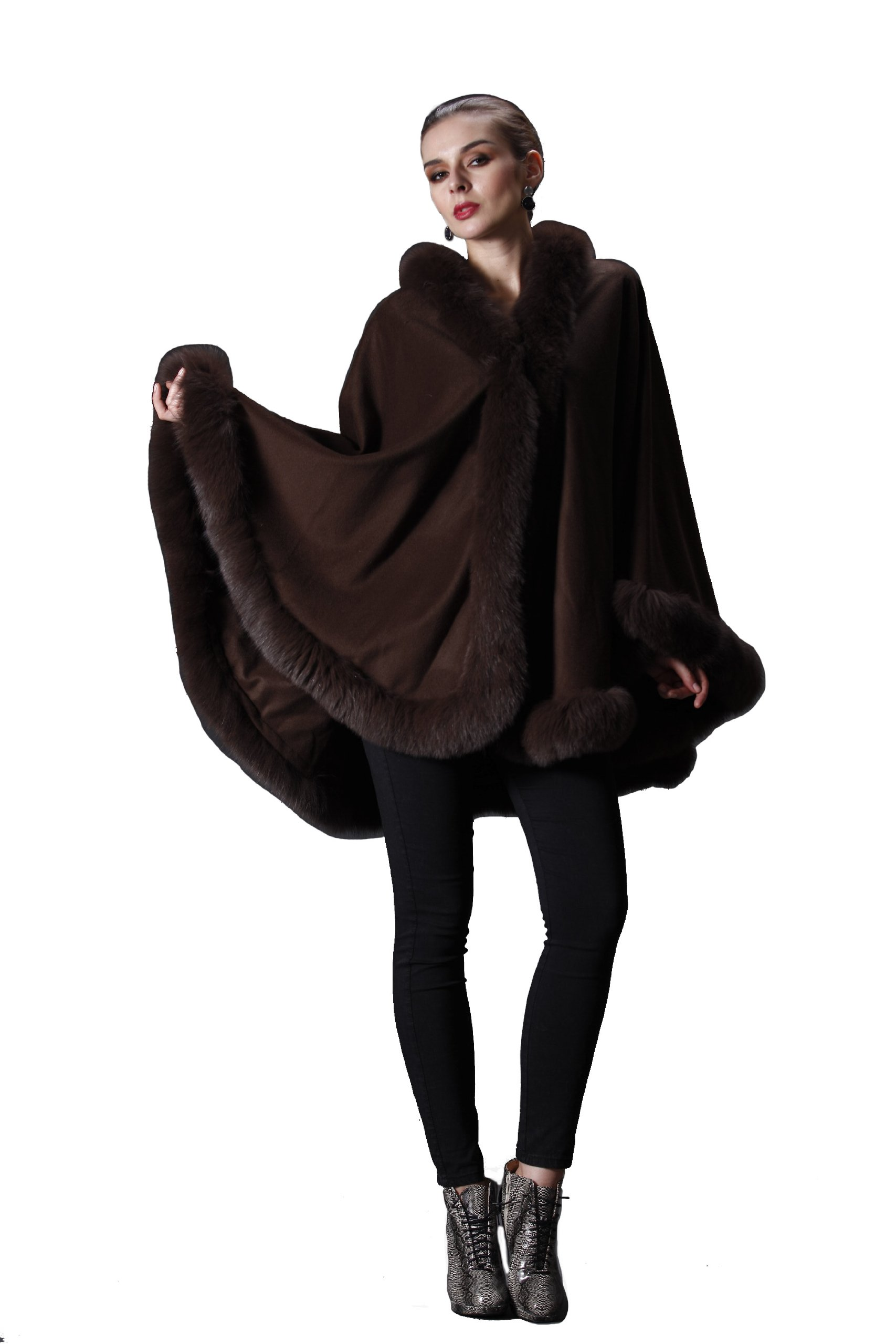 CAPE- CASHMERE CAPE WITH FOX TRIM ALL AROUND FROM CASHMERE PASHMINA GROUP (COFFEE) by Cashmere Pashmina Group