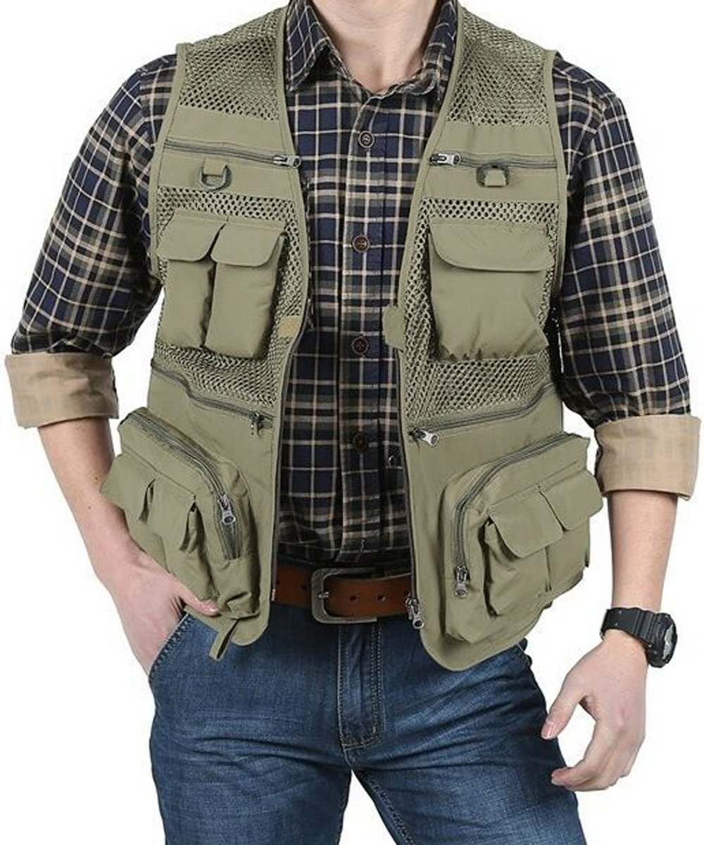 EKLENTSON Men's Quick Dry Breathable Outdoor Travel Photography Journalist Fishing Vest Jacket 16 Pockets