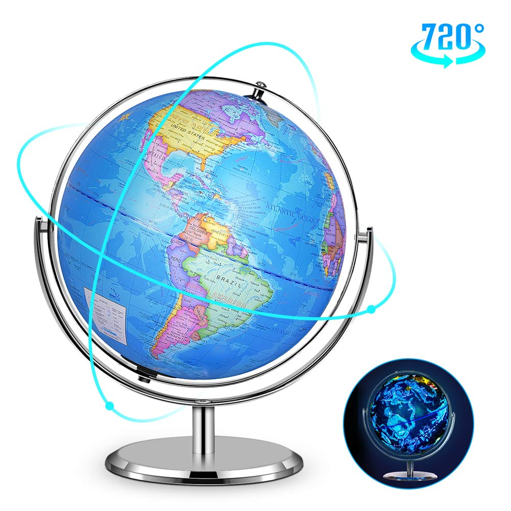 Illuminated Constellation World Globe - 2 in 1 Interactive World Globe with Stand, Built-in LED Light, USB Night View Stars & Constellation Globe for Home Office Décor, Ideal Educational Learning Toy by DIPPER