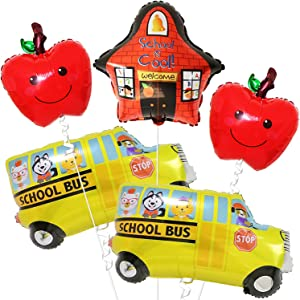 Back to School Balloons Set - Large, Pack of 5 | Back to School Decorations | School Bus Decorations | First Day of School Decorations with School Bus Balloon, School is Cool Balloon, Apple Balloons