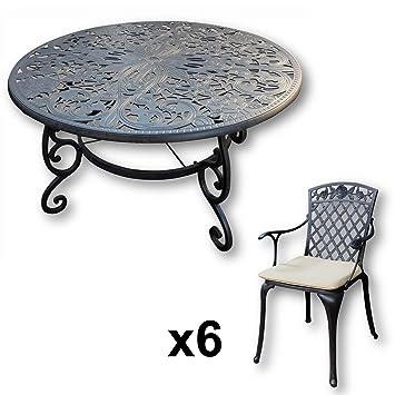 Lazy Susan - Table ronde 135 cm JOYCE et 6 chaises de jardin - Salon ...