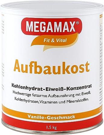 MEGAMAX - Aufbaukost - Suplemento para Ganar Peso y Masa Muscular - Vainilla - Solo un 0,5% de Grasa - 1,5 kg