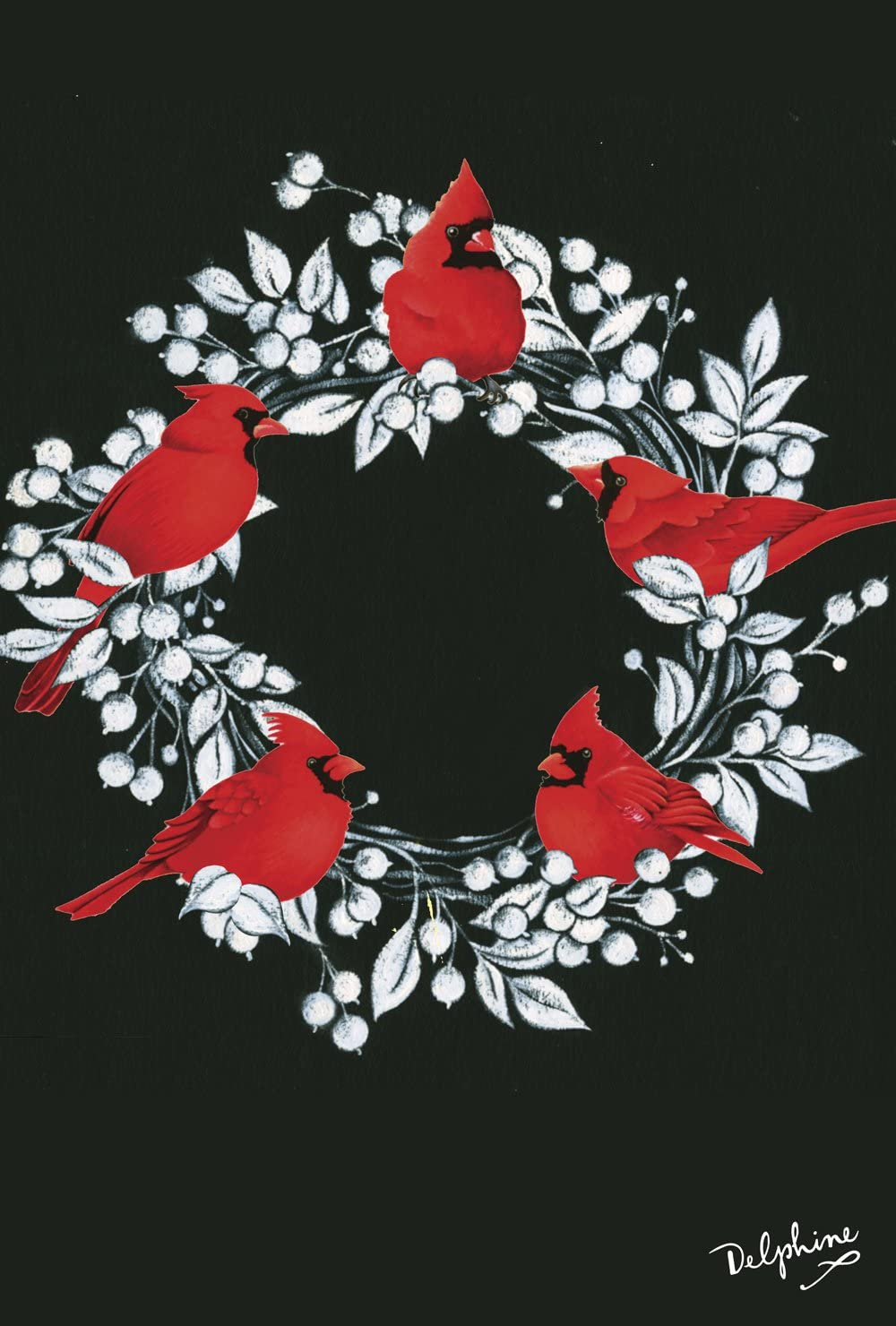 Toland Home Garden Cardinal Wreath 28 x 40 Inch Decorative Christmas Holiday Winter Bird House Flag - 1010837