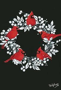 Toland Home Garden Cardinal Wreath 12.5 x 18 Inch Decorative Christmas Holiday Winter Bird Garden Flag