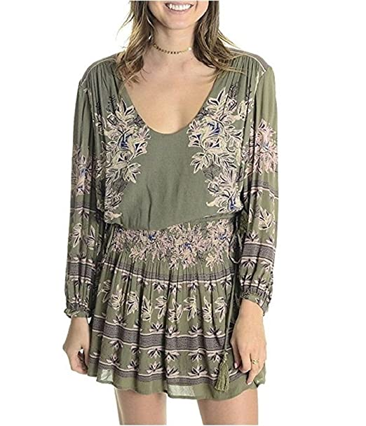75fd6a6e3788 Free People Womens Green Floral Long Sleeve Scoop Neck Above The Knee  Blouson Dress US Size