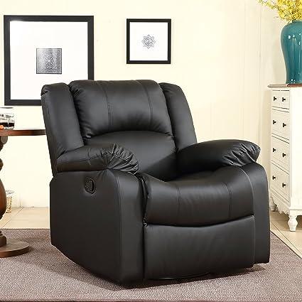 Perfect Belleze Swivel Glider Faux Leather Rocker Recliner Chair Overstuffed  Armrest Backrest, Black