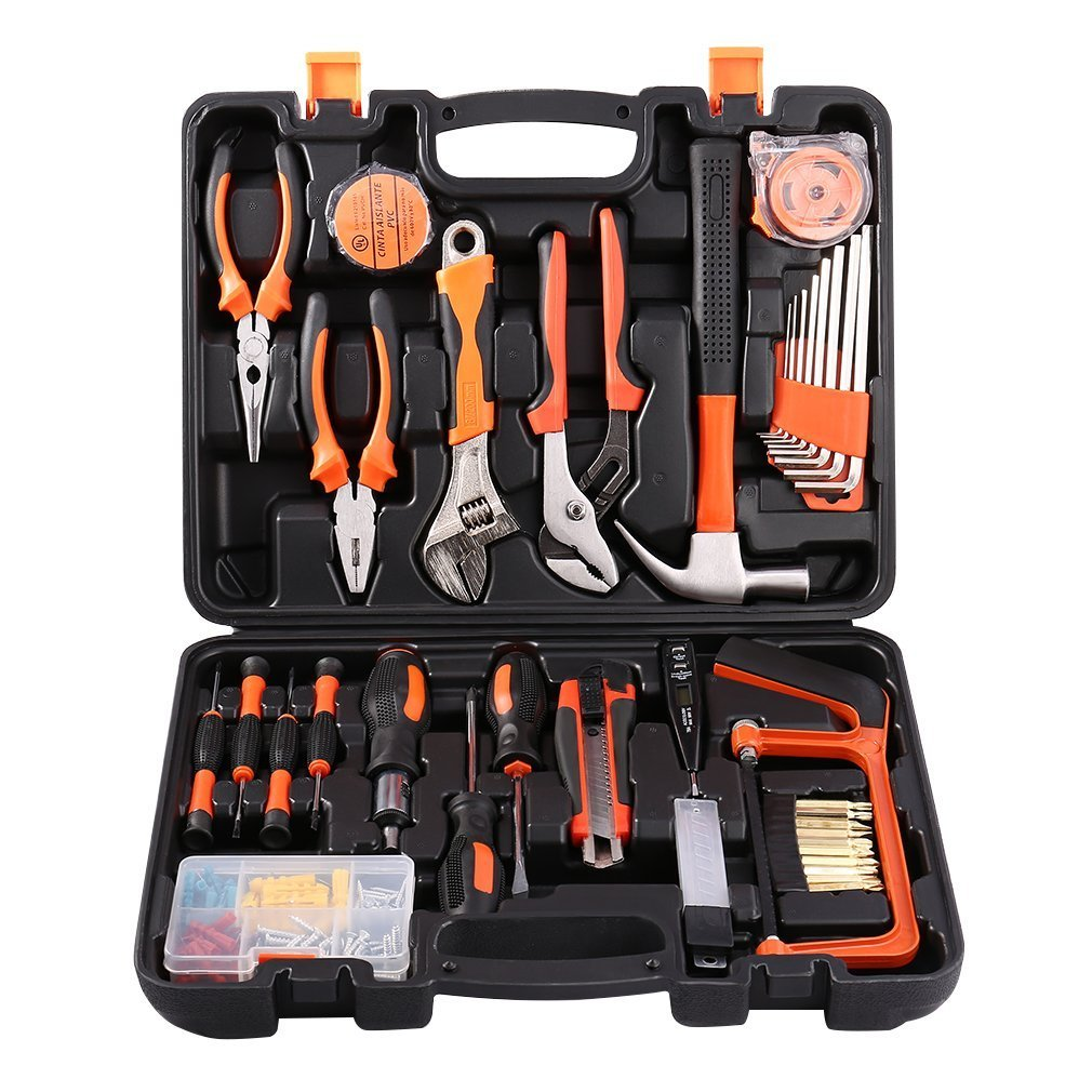LESHP Tool Kit 100 Piece Tool Set DIY Home Household Tool Box with Precision Tools Combination Pliers for Men or Ladies