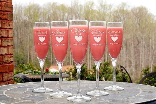 1 copas de champán personalizadas para bodas, damas de honor, bodas, fiestas, regalos, copas grabadas personalizadas: Amazon.es: Hogar