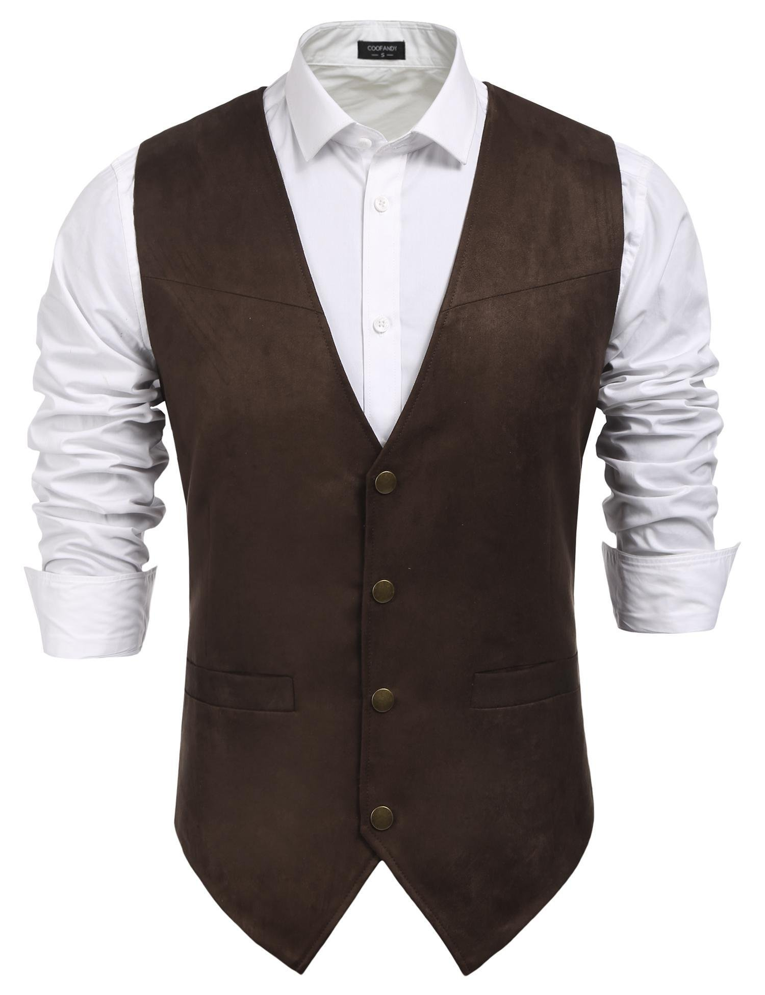 Coofandy Men's Slim Leather Vest Suede Vest Single-Breasted Vest, Coffe, XX-Large