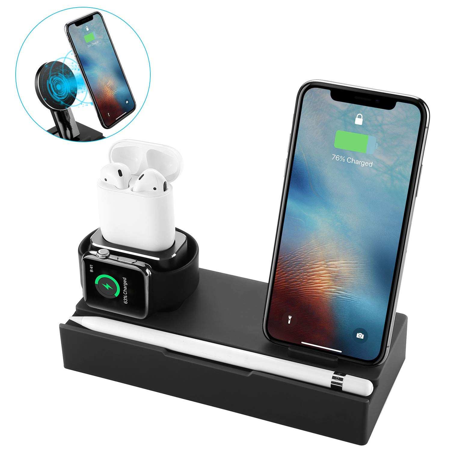 NEXGADGET 8 in 1 Charging Station Compatible Apple Watch AirPods,Detachable  Wireless Charger Compatible for iPhone Xs Max/XS/XR/X/8/8 Plus All  Qi-Enabled ...