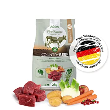 NUEVO aniforte 100% Natural trockenfutter Natural de perros Forro getreidefrei Country Beef 2 kg,