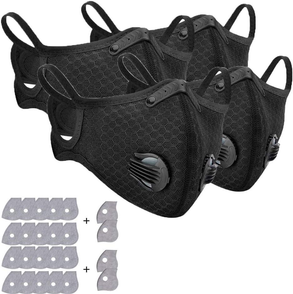 Mascarilla de protección respiratoria, 4 unidades, 24 filtros de carbón activo, lavable y reutilizable, máscara de protección respiratoria para correr, ciclismo, actividades al aire libre