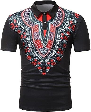 Sallydream Polos para Hombres Camiseta Ajustada Africana de la Camiseta del músculo de la Manga Corta de los Hombres Ajustada Blusa Ocasional de los Tops: Amazon.es: Ropa y accesorios