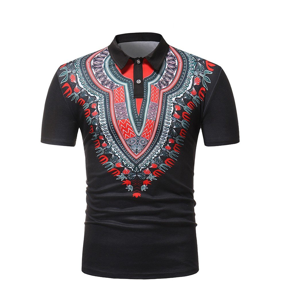 iZHH Mens Shirt Slim Fit Short Sleeve African Style Printed Muscle Tee T-Shirt Casual Tops Blouse Black