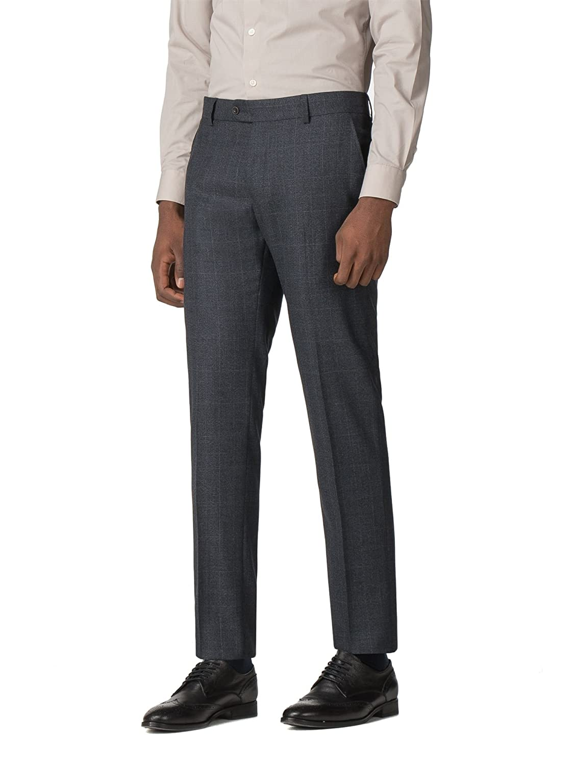 Limehaus Blue with Rust Overcheck Slim Fit Trousers 0050464 by Suit Direct