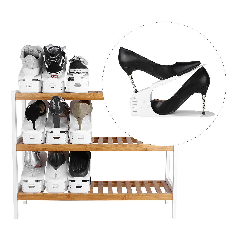 FEMOR Set de 10pcs de Organizadores Ajustables de Zapatos con Ranuras Soportes de Calzado Apilador para Zapatos Ahorro de Espacio Color Blanco