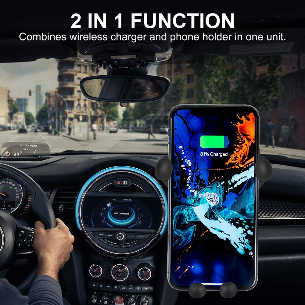 compatible with iPhone Xs//Xs Max//XR//X // 8//8 Plus // S8 // S8 fast charging car phone holder Wireless Car Charger,NUOGAO Auto Clamping Air Vent Phone Holder 10W // S9 // S9 samsung Galaxy S10 // S10