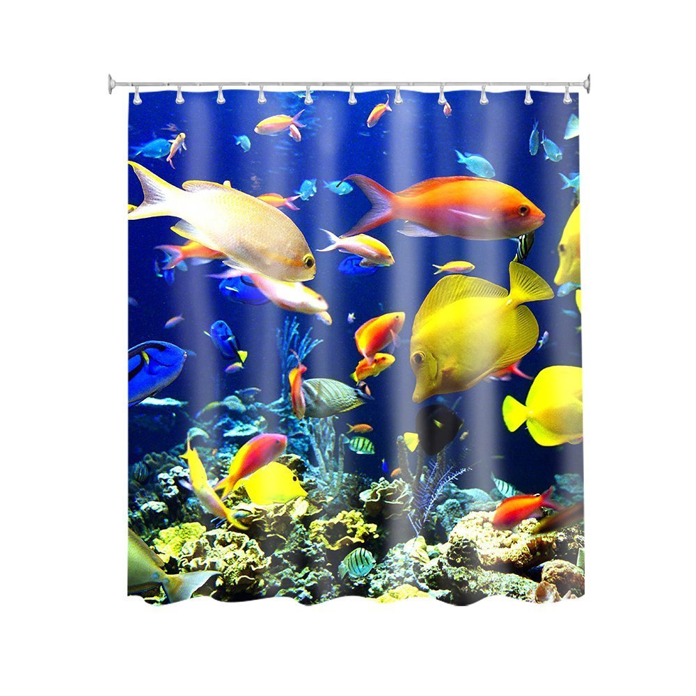 Coral Fish and The Sinking Underwater World Sea Animal Customize Waterproof Polyester Fabric Bathroom Shower Curtain 66*72 Inch General