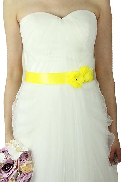 Lemandy Cinturón con dos flores, para vestido de novia, accesorio, B13 en 14 colores amarillo amarillo Talla única: Amazon.es: Ropa y accesorios