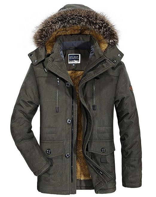 Yaer Mens Winter Jacket,Thicken Plush Warm Fur Waterproof Windproof Outwear Coat