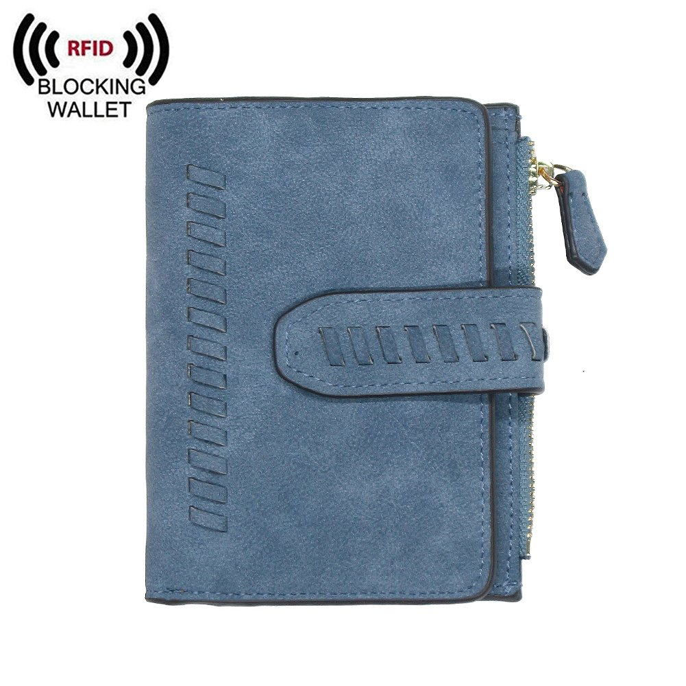 IFUNLE Womens RFID Blocking Soft PU Matte Leather Bifold Short Wallet Large Capacity Card Holder Key Cash Zipper Coin Pocket Buckle Ladies Travel Purse (#2 Blue)