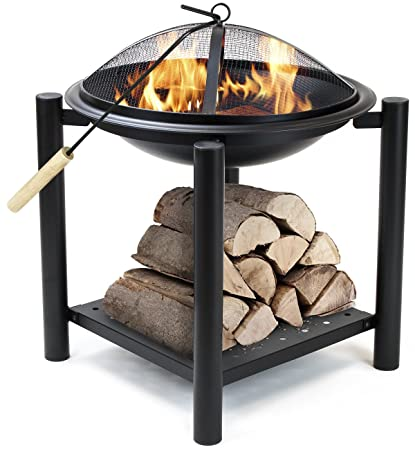 Sorbus Fire Pit Bowl Table With Storage Shelf Legs, Mesh Cover, Log Grate,