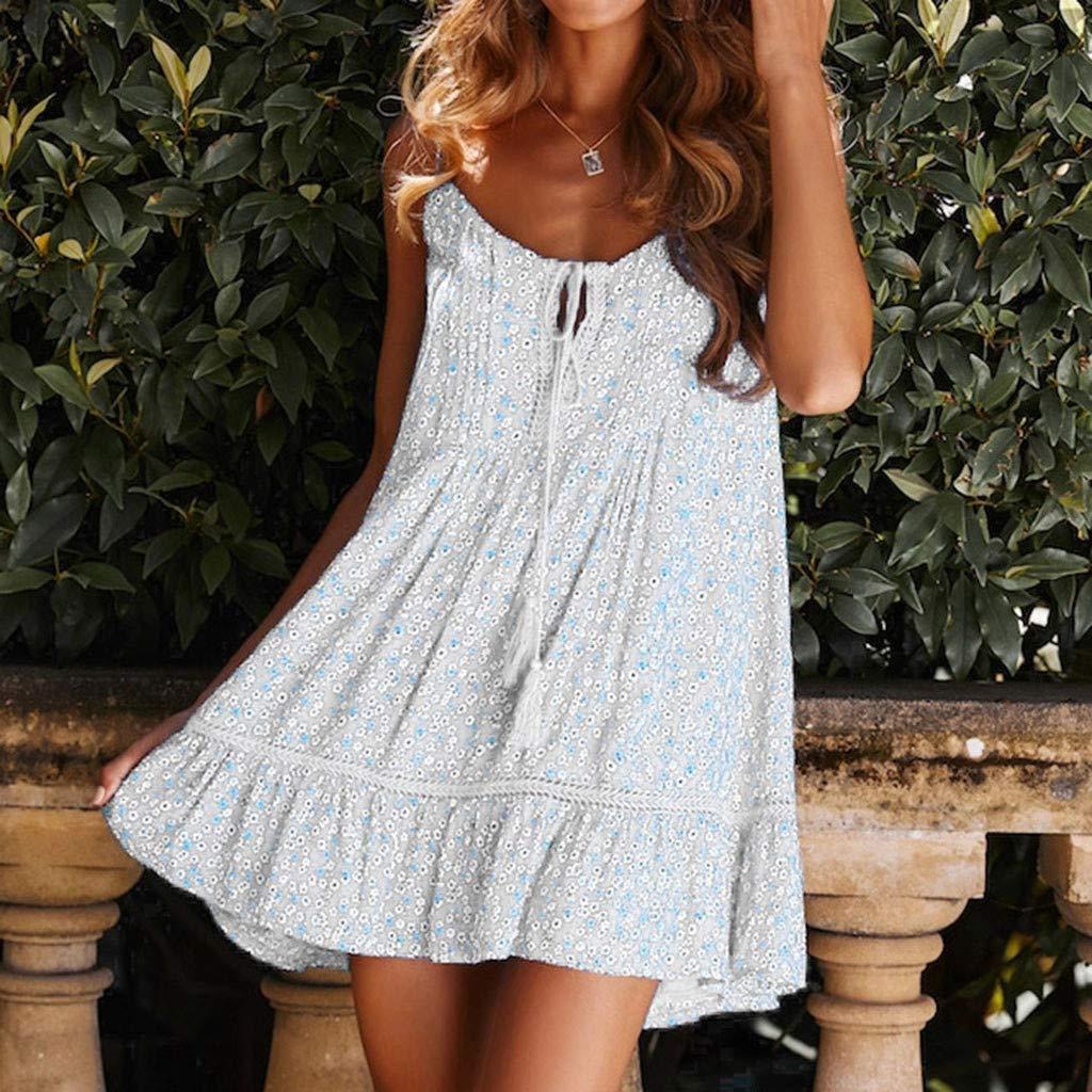 Daylin Womens Dress Tassel Printing O-Neck Button Sleeveless Mini Dress Knee-Length Princess