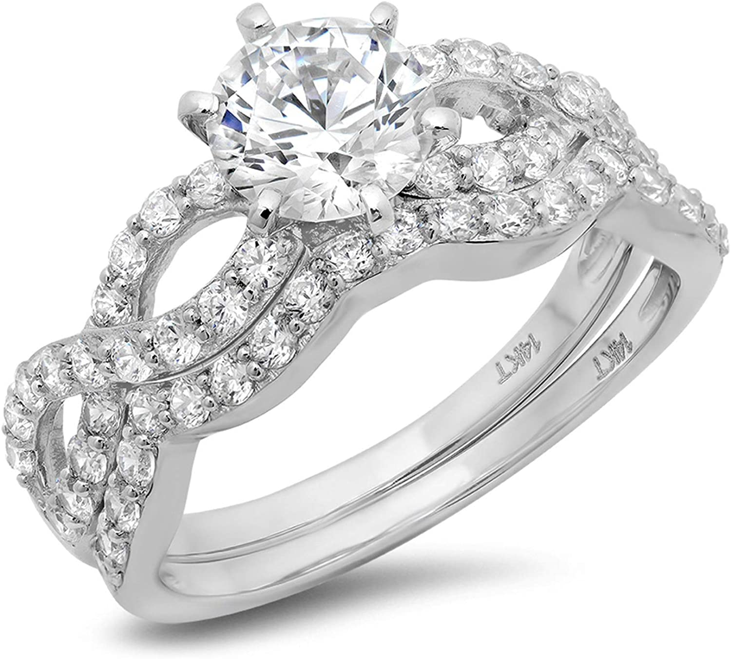 1.49ct Round Cut Halo Pave Solitaire Split Shank Accent VVS1 Ideal D Moissanite & Simulated Diamond Engagement Promise Designer Anniversary Wedding Bridal ring band set Curved 14k White Gold
