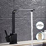 Robinet de cuisine élégante et design rétro robinet avec bec haut de lavabo bain Robinet mitigeur pour lavabo Levier Noir