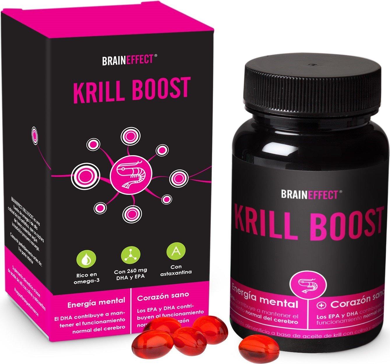 BRAINEFFECT KRILL BOOST | 1180mg por porción | 60 cápsulas | Omega 3 rico en EPA, DHA y astaxantina | Puro aceite de krill ártico procedente de capturas ...