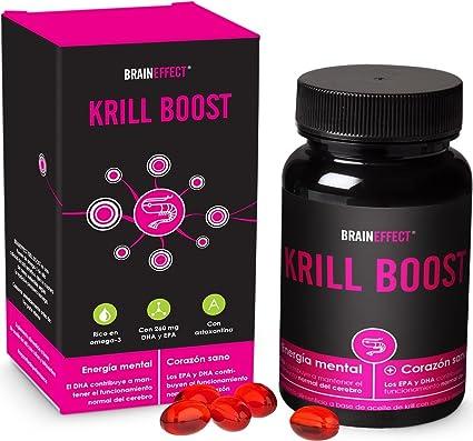 BRAINEFFECT KRILL BOOST | 1180mg por porción | 60 cápsulas | Omega 3 rico en EPA, DHA y astaxantina | Puro aceite de krill ártico procedente de ...