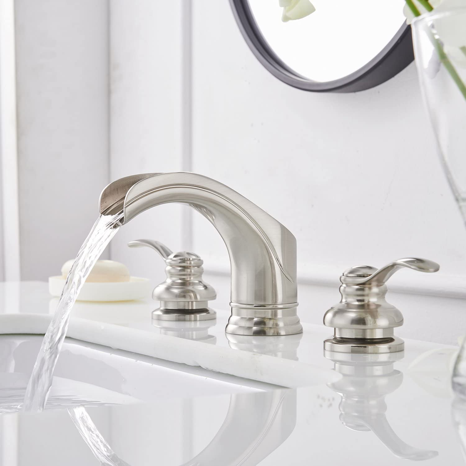 Greenspring Commercial Waterfall 8-16 Inch 3 Holes Two Handle Widespread Brushed Nickel Bathroom Sink Faucet