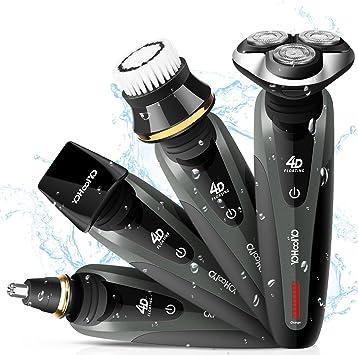 Yohoolyo - Afeitadora eléctrica para hombre, 4 en 1, recargable, lavable, inalámbrica, con 4 cabezales giratorios para cortar el pelo de la barba, la nariz, las ...