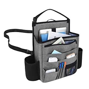 LUXJA Car Front Seat Organizer with Laptop and Tablet Storage Pockets, Car Seat Organizer with Back Adjustable Straps, Gray