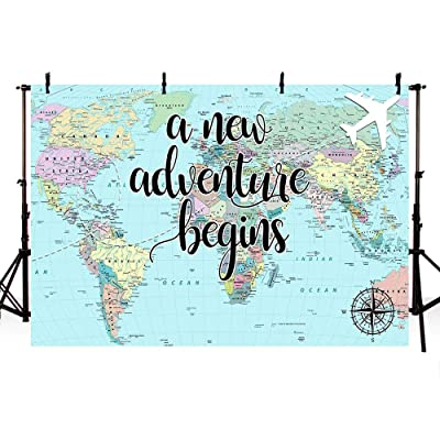 Buy Mehofoto A New Adventure Begins Travel Boy Baby Shower Party Decorations Backdrop World Map Around World Adventure Awaits Airplane Birthday Bridal Shower Photography Background Photo Banner 7x5ft Online In Turkey B07t496b45